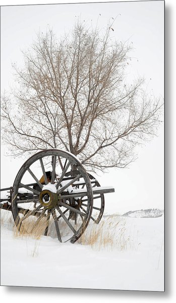 Wagon In The Snow Metal Print