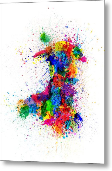 Wales Paint Splashes Map Metal Print