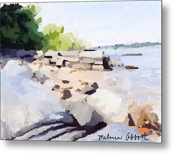 Wall And Beach At Ten Pound Island Metal Print