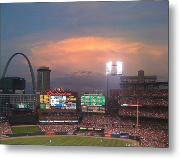 Warm Glow Over St. Louis Arch And Stadium Metal Print