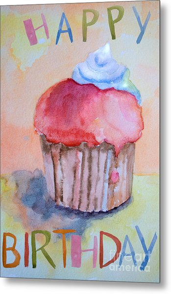 Watercolor Illustration Of Cake  Metal Print