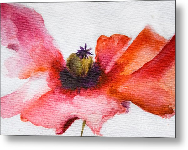 Watercolor Poppy Flower Metal Print