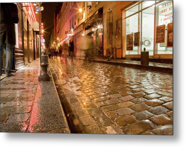 Wet Paris Street Metal Print