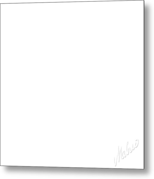 White Square Metal Print