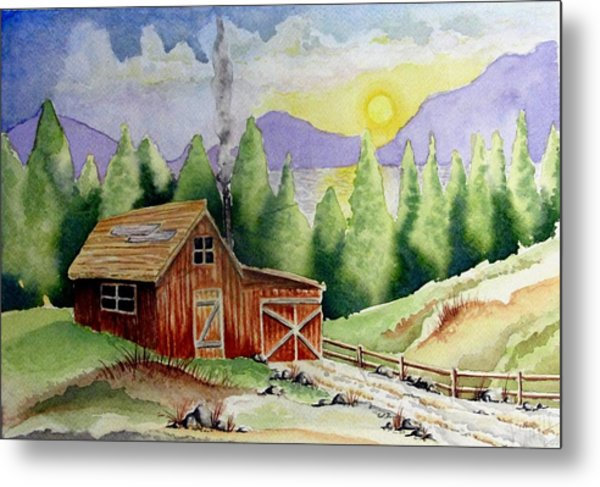 Wilderness Cabin Metal Print