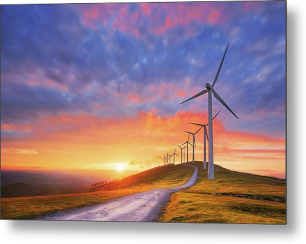 wind turbines in Oiz eolic park Metal Print
