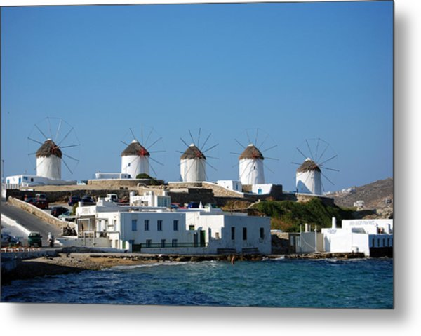 Windmills Of Mykonos Metal Print