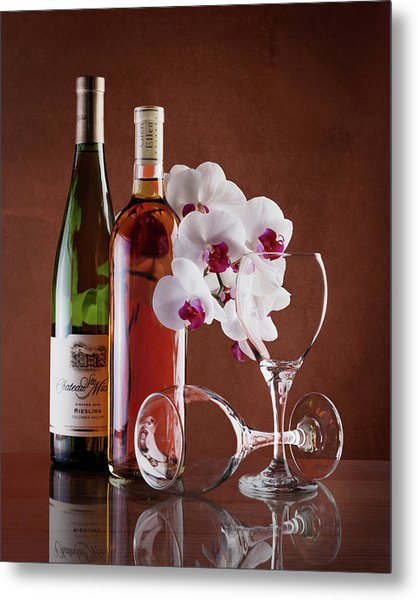 Wine And Orchids Still Life Metal Print