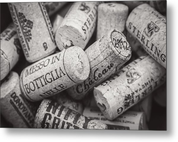 Wine Corks Black And White Metal Print