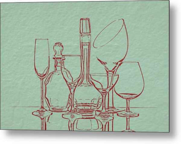 Wine Decanters With Glasses Metal Print