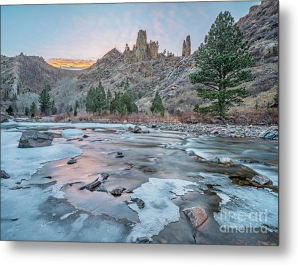 winter dusk over Poudre Canyon Metal Print
