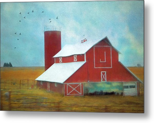 Winter Red Barn Metal Print