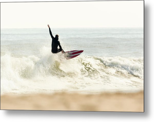 Winter Surfer On Sunny Day Metal Print by Erin Cadigan