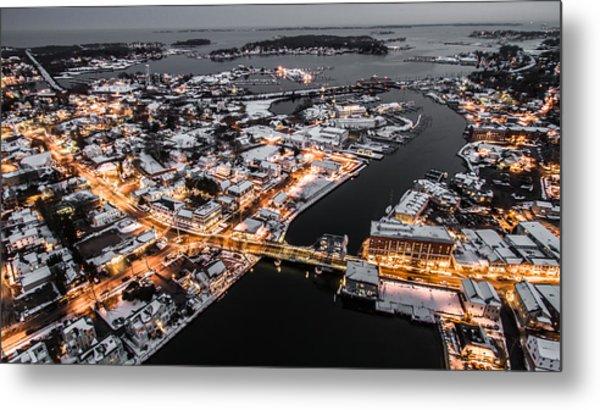 Winter Twilight In Mystic Connecticut Metal Print