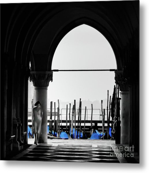 Woman At Doges Palace Metal Print