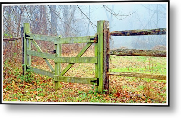 Wooden Fence On A Foggy Morning Metal Print