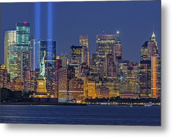 Metal Print featuring the photograph World Trade Center Wtc Tribute In Light Memorial II by Susan Candelario