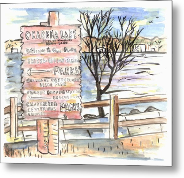 Worthington Sign Metal Print