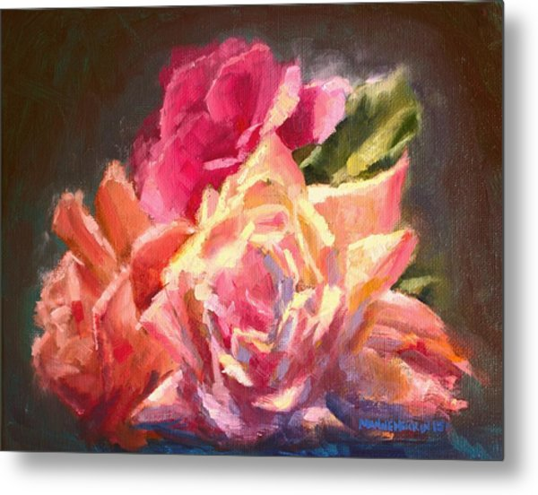 Yellow And Pink Roses Metal Print