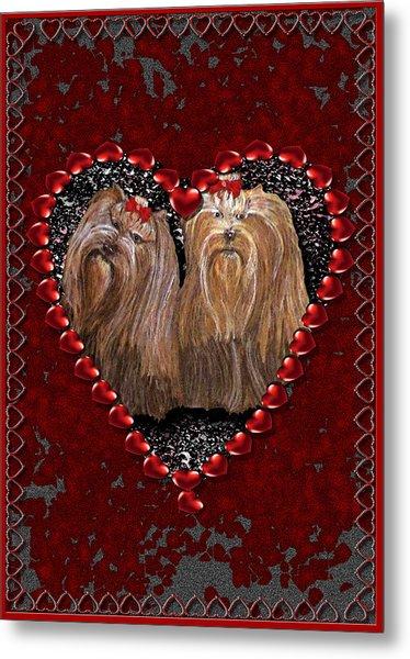 Metal Print featuring the digital art Yorkie Heart by Michelle Audas
