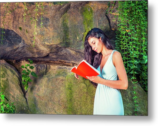 Young American Woman Reading Book At Central Park, New York, In  Metal Print