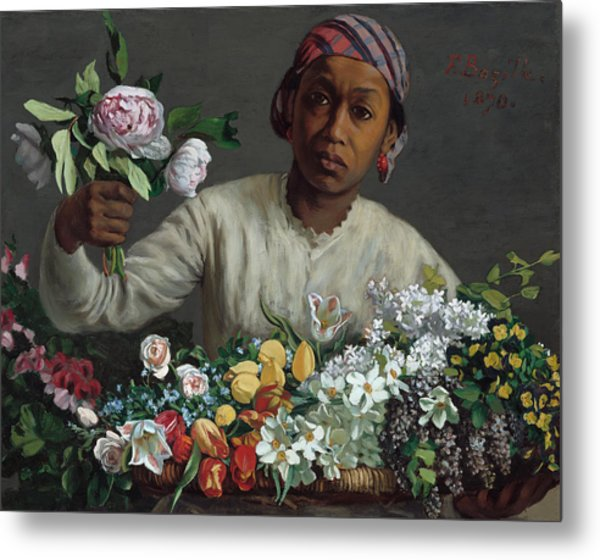 Young Woman With Peonies Metal Print