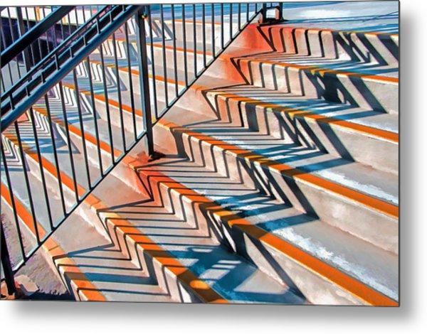 Zig Zag Shadows On Train Station Steps Metal Print