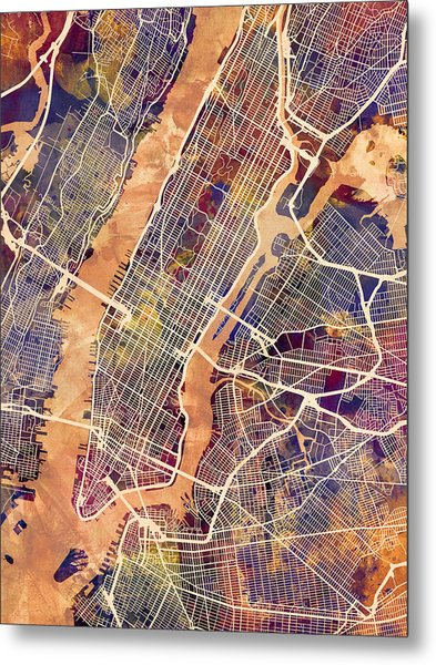 New York City Street Map Metal Print by Michael Tompsett