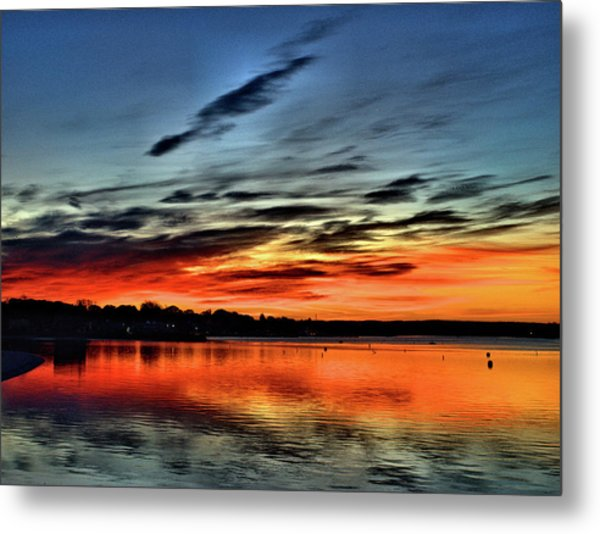 Sunrise Onset Pier Metal Print
