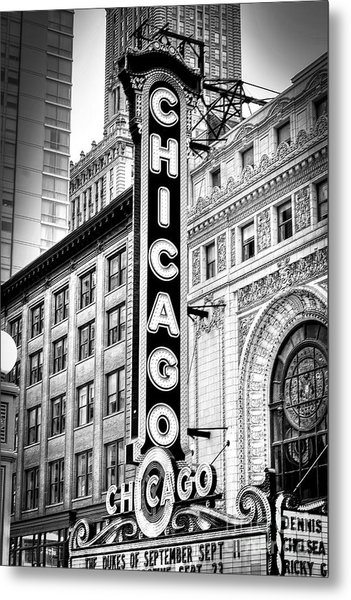 1077 Chicago Theater Black And White Metal Print