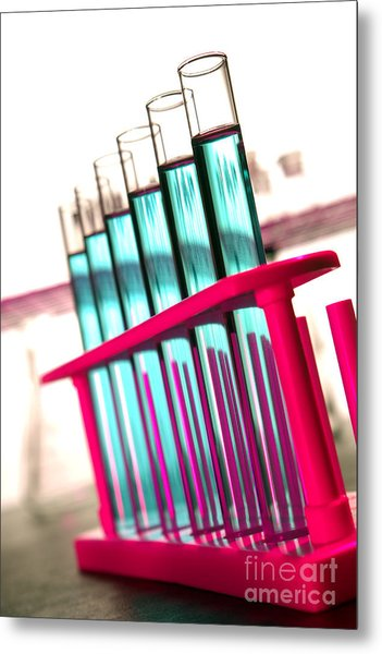 Test Tubes In Science Research Lab Metal Print