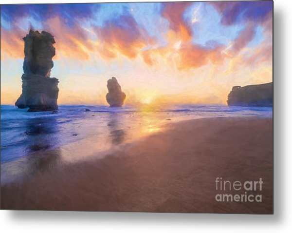 12 Apostles With Marshmallow Skies    Og Metal Print
