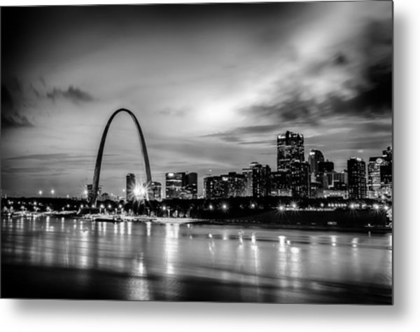 Metal Print featuring the photograph City Of St. Louis Skyline. Image Of St. Louis Downtown With Gate by Alex Grichenko