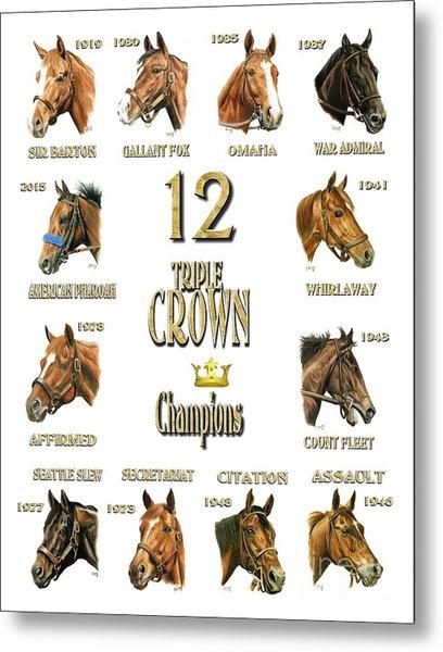 12 Triple Crown Winners Metal Print