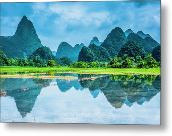 Karst Rural Scenery In Raining Metal Print