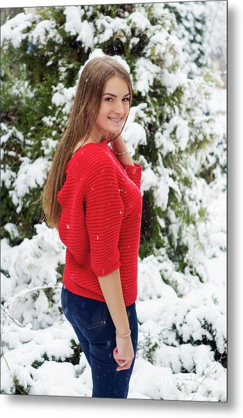 Beautiful Young Girl Model In Winter In A Parked Park. In A Red Sweater. Metal Print by Oleksandr Masnyi