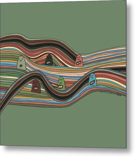 Line Faces Metal Print by Karl Addison