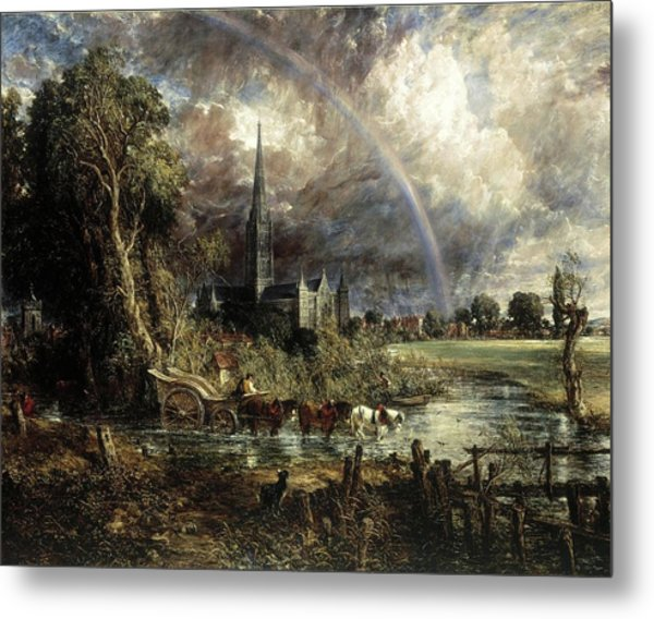Salisbury Cathedral From The Meadows Metal Print