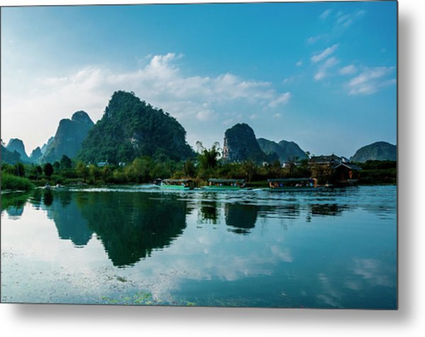 The Karst Mountains And River Scenery Metal Print