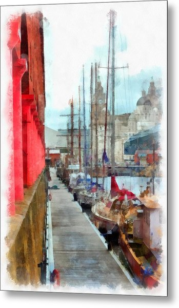A Digitally Constructed Painting Of The Albert Dock Liverpool Uk In Aquarelle Style Metal Print