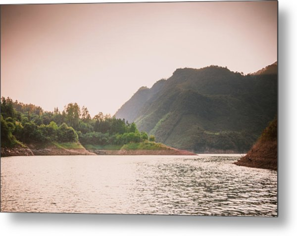 The Mountains And Lake Scenery In Sunset Metal Print