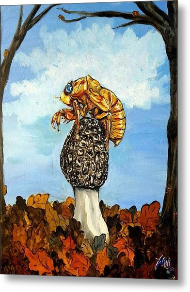 17 Year Cicada With Morel Metal Print