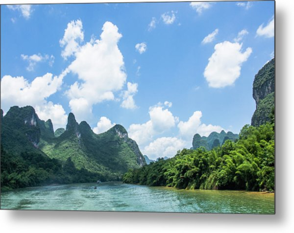 Lijiang River And Karst Mountains Scenery Metal Print