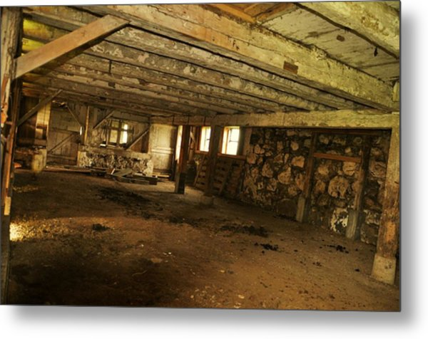 1855 Maple Dell Farm Barn Interior Metal Print