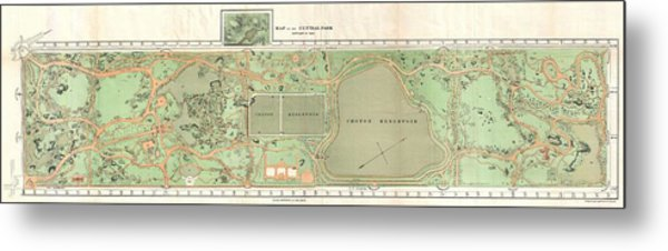1870 Vaux And Olmstead Map Of Central Park New York City Metal Print