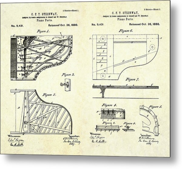 1880 Steinway Piano Forte Patent Art Sheets V2 Metal Print
