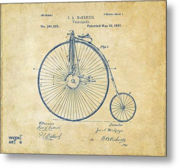 Metal Print featuring the digital art 1881 Velocipede Bicycle Patent Artwork - Vintage by Nikki Marie Smith
