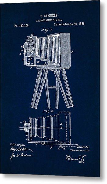 1885 Camera Us Patent Invention Drawing - Dark Blue Metal Print