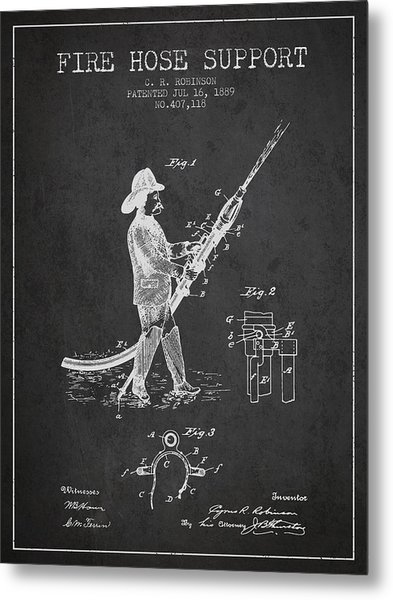 1889 Fire Hose Support Patent - Charcoal Metal Print