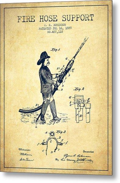 1889 Fire Hose Support Patent - Vintage Metal Print